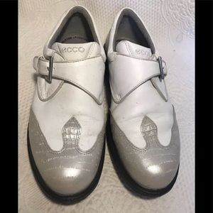 ECCO white and gray wingtip golf shoes